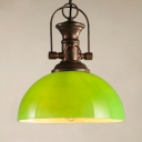 Vintage Stylish Green Pendant Light Dome Shade 1 Head Glass Suspension Light for Factory