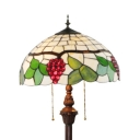 Stained Glass Grape Floor Lamp 2 Lights Tiffany Rustic Floor Light with Pull for Bedroom