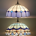 Stained Glass Domed Shade Floor Lamp Dining Room Three Lights Tiffany Stylish Floor Light in Blue