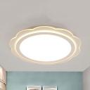 White Blossom Flush Ceiling Light Modern Stylish Acrylic LED Ceiling Lamp with Warm/White Lighting for Bedroom