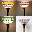 Grid Dome Bedroom Floor Lamp Art Glass 1 Light Tiffany Style Standing Light in Green/Pink/Yellow