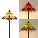 17.5 Inch Vintage Cone Floor Lamp 2 Lights Stained Glass Standing Light in Green/Red/White for Study Room