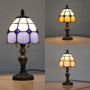 Blue/Orange/Yellow Dome Desk Lamp 1 Head Tiffany Traditional Art Glass Desk Light for Bedroom