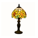 Stained Glass Sunflower Desk Light 1 Light Tiffany Traditional Table Lamp in Yellow for Hotel