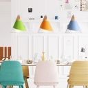 Nordic Blue/Green/Yellow Hanging Light Cone Shade 1 Head Metal Wood Ceiling Pendant with Iron Wire for Dining Table
