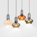 Contemporary Clear Glass Pendant Light Black Finish Mini Pendant Round Shade