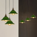 Vintage Style Bell Shade Pendant Light Glass 3 Lights Green Hanging Lamp with Linear/Round Canopy for Bedroom