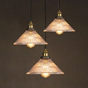 Antique Style White Pendant Light Cone Shade 3 Heads Fluted Glass Pendant Lamp for Cottage Bar