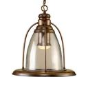 Metal Glass Dome Pendant Light Cafe Restaurant 1 Light Antique Suspension Light in Bronze