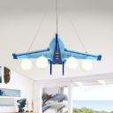 Four Heads Airplane Pendant Lamp Modern Eye-Caring Wood White Lighting Hanging Light in Blue for Dining Room
