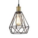 Black Diamond Cage Pendant Light with Adjustable Cord 1 Light Vintage Metal Hanging Light for Corridor