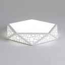Simple Style White Flush Mount Light Diamond Acrylic LED Ceiling Fixture in Warm/White for Bedroom