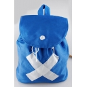 Fashion Cosplay Cross Tape Patched Blue Canvas Drawstring School Backpack 34*30 CM