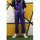 Summer Cool Hip Hop Style Purple Belted Waist Straight Fit Work Bib Overalls Pants