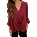 Women's Fashion Simple Plain V-Neck Long Sleeve Button Down Twist Hem Asymmetrical Shirt Blouse
