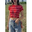 Cute Cartoon Printed Short Sleeve Round Neck Girls Red Stripe Slim Crop Tee