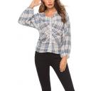 Unique Pleated Plaid Print V-Neck Lantern Long Sleeve Button Down Shirt Blouse
