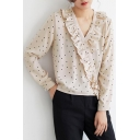 Trendy Polka Dot Printed Ruffled V-Neck Long Sleeve Apricot Blouse Top