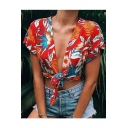 Fashion Red Tropical Printed Sexy Plunging Neck Knotted Hem Cropped Blouse Top