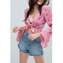 Girls Summer Pink Strawberry Printed Flared Long Sleeve Knotted Front Cropped Blouse Top