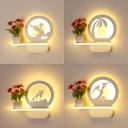 Lovely White Wall Sconce with Shelf Acrylic Plant/Animal LED Wall Light for Girl Boy Bedroom