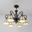 Black Bell Pendant Lighting 6 Lights Traditional Metal Glass Chandelier for Living Room