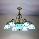 Glass Dome Cone Chandelier 7 Lights Tiffany Style Engraved Hanging Lamp in Blue for Hotel Cafe