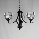 Black & White Dome Chandelier 3 Lights Traditional Glass Hanging Light for Bathroom Balcony