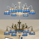Tiffany Style Dome Chandelier Stained Glass 8 Lights Aged Brass/White Pendant Lamp for Dining Room