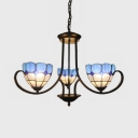 3 Lights Dome Hanging Light Mediterranean Style Stained Glass Chandelier in Blue for Foyer Stair