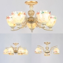 Tiffany Style Dome Chandelier 3/5/6 Lights Colorful Shell Glass Pendant Lamp for Hallway Bedroom