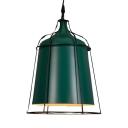 Green Bucket Ceiling Light with Cage 1 Light Industrial Aluminum Pendant Light for Restaurant