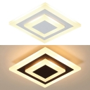 Square Child Bedroom Flush Mount Light Acrylic Nordic Style Ceiling Light in Warm/White