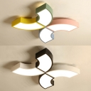 Black & White/Multi-Color Ceiling Mount Light Half Ring Acrylic Flush Light for Kids Bedroom