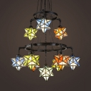 Stained Glass Star Hanging Light Restaurant 2-Tier 10 Lights Tiffany Style Vintage Chandelier