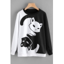 Cartoon Cat Print Black and White Colorblock Round Neck Long Sleeve Pullover Sweatshirt