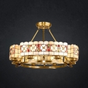 Round Living Room Chandelier with Flower Stained Glass 8 Lights Tiffany Style Hanging Light in Beige