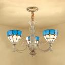 Art Glass Dome Chandelier 3 Lights Mediterranean Style Pendant Lamp in Blue for Foyer