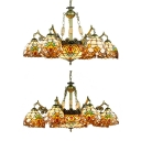 Tiffany Style Rustic Suspension Light Stained Glass 9/11 Lights Chandelier for Living Room
