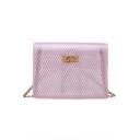 Summer Fashion Plain Chain Strap Transparent Crossbody Beach Bag 17*5*13 CM