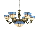 Mediterranean Style Dome Chandelier Glass 9 Lights Blue Hanging Light for Restaurant Hotel