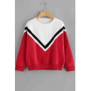 Color Block Chevron Stripe Round Neck Long Sleeve Pullover Sweatshirt