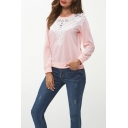 Womens Lace Patchwork Plain Round Neck Long Sleeve Pullover Sweatshirt