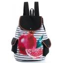 Popular Stripe Fruit Printed Double Pocket Side Black and White School Backpack 28*11*39 CM