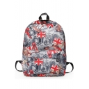 Stylish Flag Graffiti Printed Large Capacity Grey Canvas School Backpack