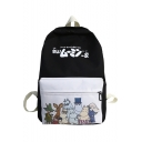 Cute Cartoon Animal Letter Printed Canvas School Backpack 27*12*40 CM