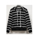 Fashion Women's Black and White Stripe Print Drawstring Hood Long Sleeve Knit Hoodie