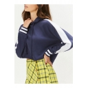 New Stylish Women's Stripe Patched Long Sleeve Drawstring Hood Dark Blue Cropped Hoodie