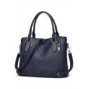 Fashion Plain Zipper Buckle Embellishment Shoulder Handbag 33*13*26 CM