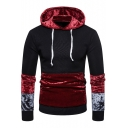 New Stylish Colorblock Printed Long Sleeve Velvet Patch Drawstring Hoodie For Men